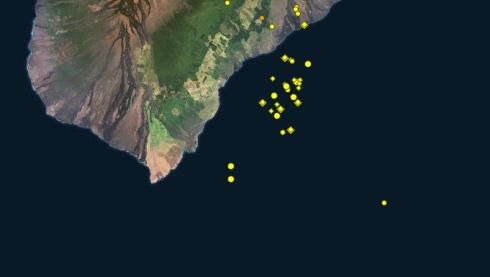 На Гавайях формируется новый, подводный вулкан.